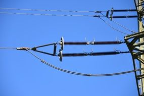 power line in blue sky view