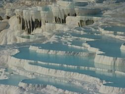 pamukkale thermal springs white-blue landscape