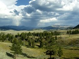Valley under the storm clouds in Yellowstone National Park, Wyoming