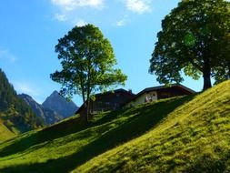 mountain huts in summer
