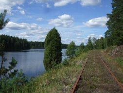 Railroad tracks near the lake