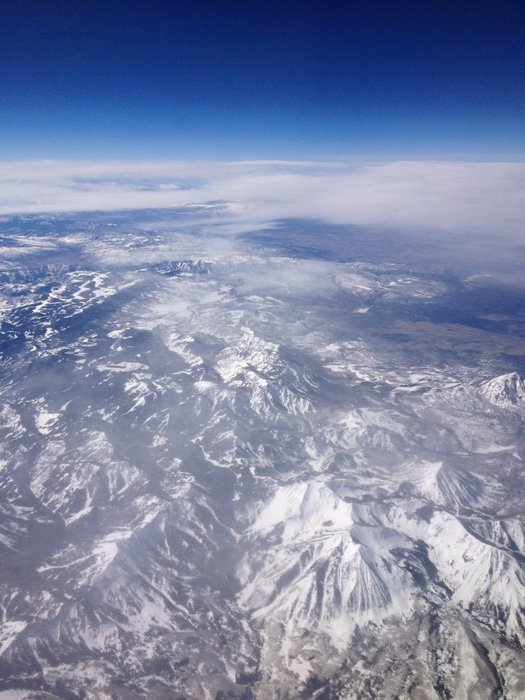 snowy mountains, aerial view