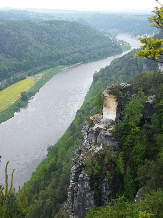 top view of the picturesque scenery along the Elbe River
