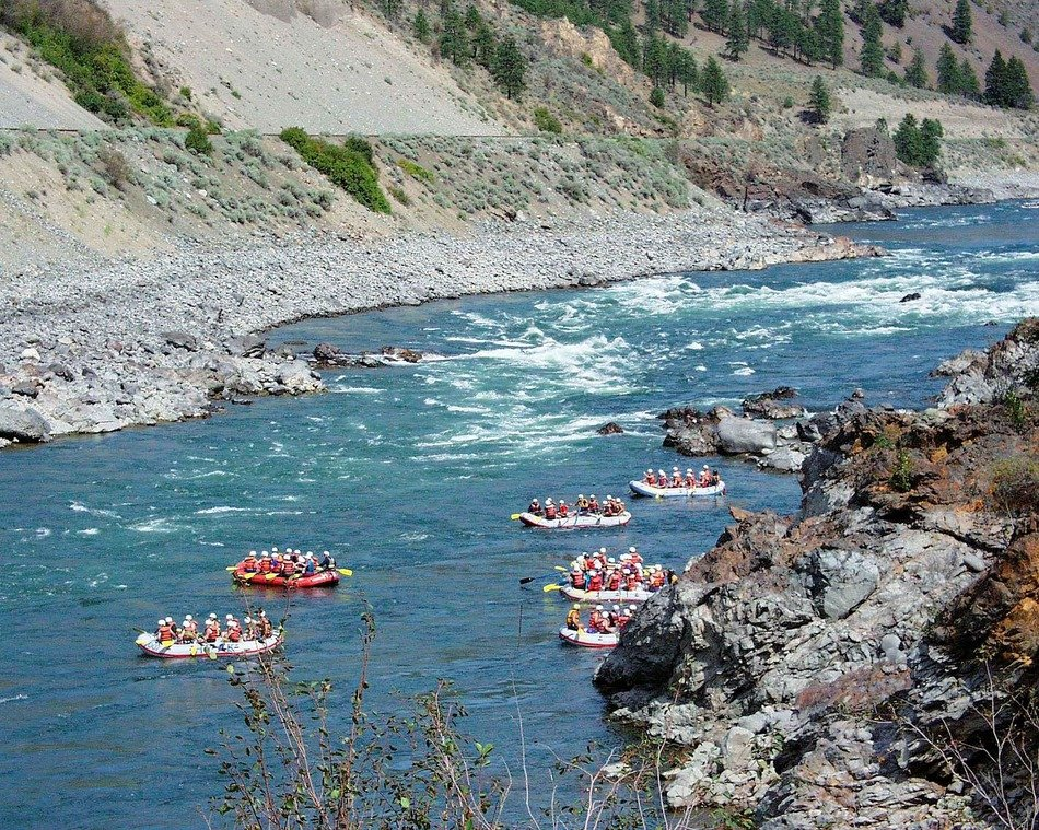 aerial view of River rafting in British Columbia
