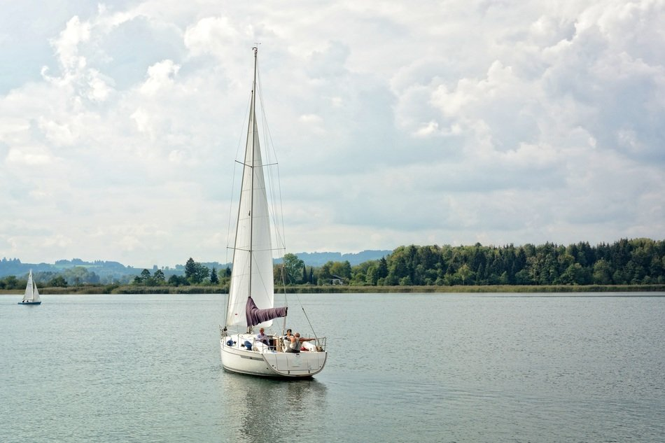 sailing boat on a lake in Europe