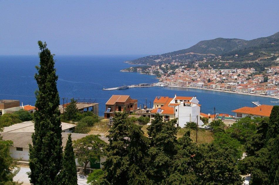 top view of the coast of the island of Samos
