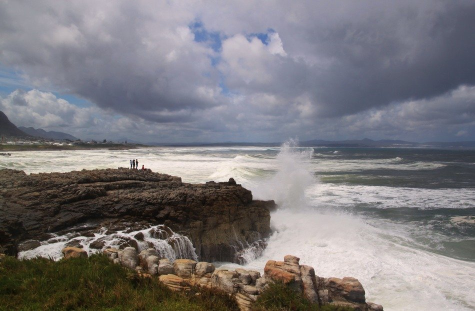 panoramic view of the rocky coast of south africa in the storm