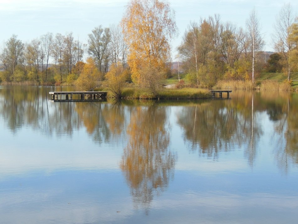 reflection in the lake of the autumn landscape