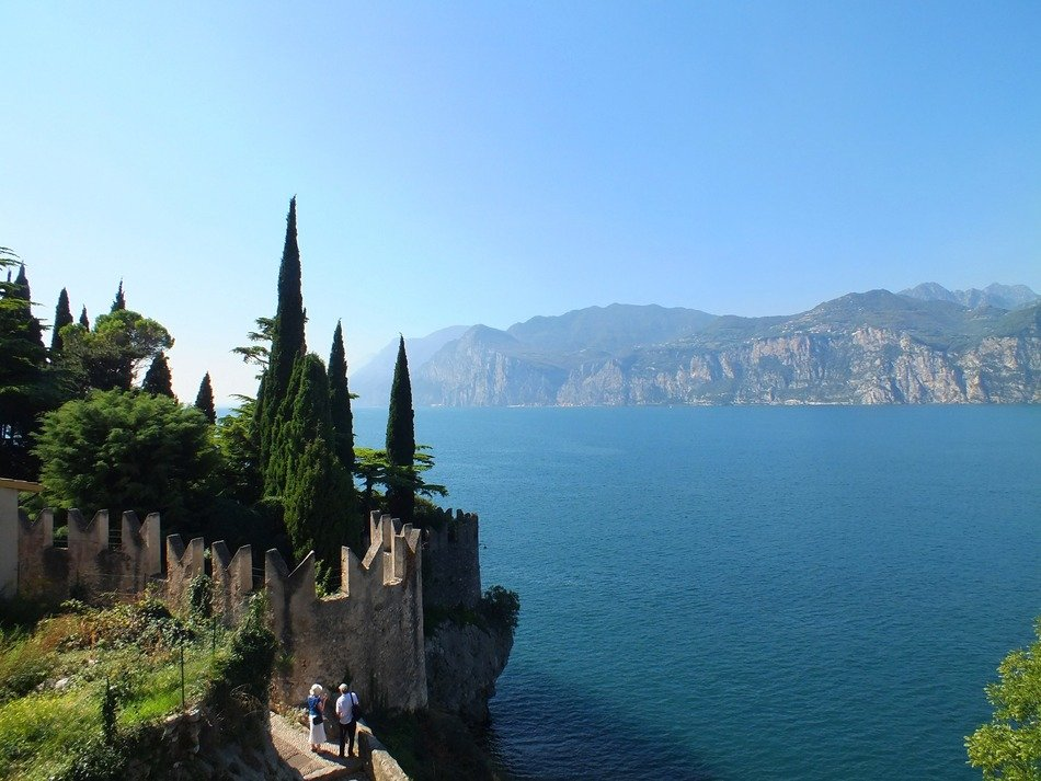 a picturesque rocky landscape and lake in Malcesine