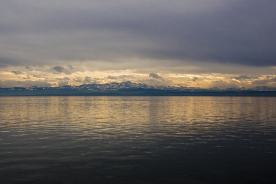Alpine panorama of the lake constance