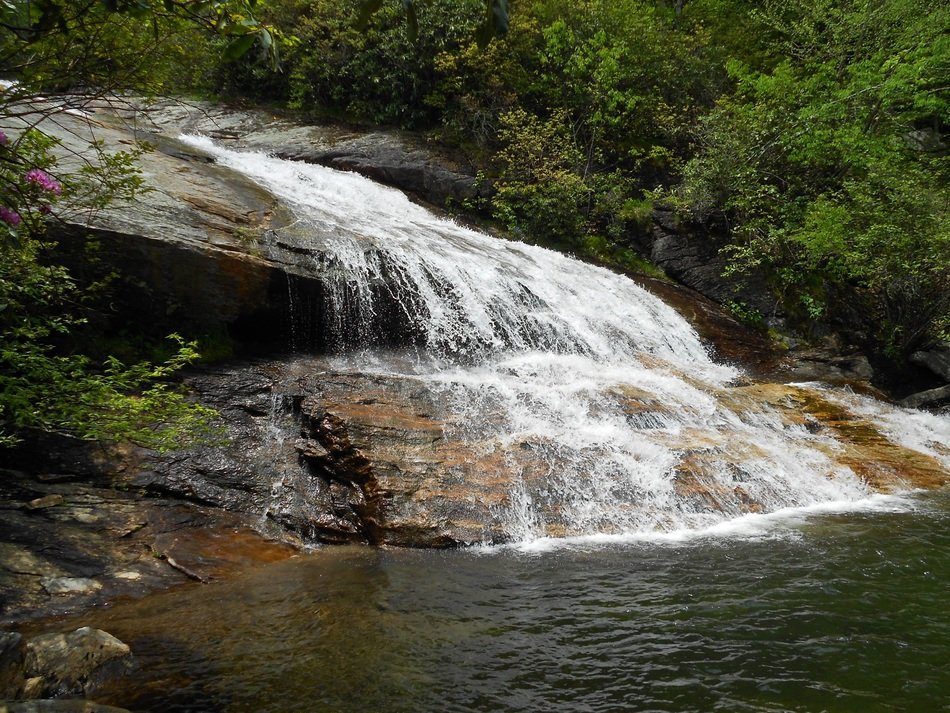 spring mountain waterfall in the forest