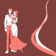Wedding couple red vector