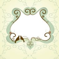 Vintage frame with two kissing doves N3