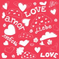 Love words in different languages and seamless hearts silhouette pattern