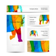 Funny striped elephant Business card for your design N2