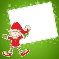 Christmas card with little elf Santa helper N2