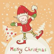 Christmas card with little elf Santa helper N3