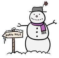 Snowman with North Pole sign