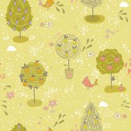 Seamless pattern with different kinds of fruit trees