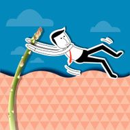 Businessman is jumping with asparagus pole vault