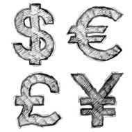 Hand drawn money symbols with hatching N2