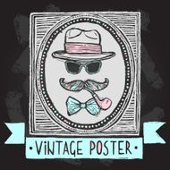Vintage hats and glasses poster