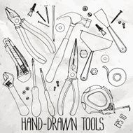 Hand drawn construction tools on craft paper N2