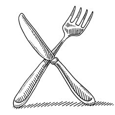 Cutlery Fork And Knife Drawing