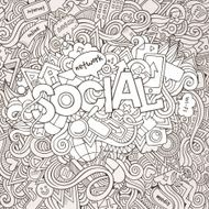 Social hand lettering and doodles elements background N4