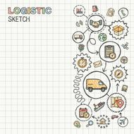Logistic hand draw integrated vector sketch icons set on paper