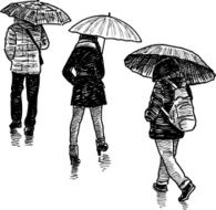 persons in the rain