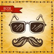 Vintage card with mustache glasses and frame