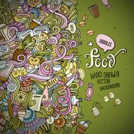 Abstract vector decorative doodles food background N4