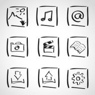 Ink style sketch set - computer icons