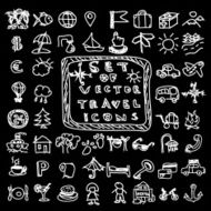Set of travel vector chalk doodles icons
