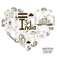 Indian symbols in heart shape concept N2