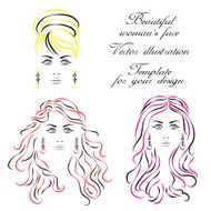 Womans face Vector illustration Template for your design