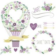 Vintage Floral Hot Air Balloon-Illustration