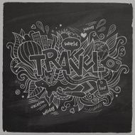 Travel Vector hand lettering and doodles elements