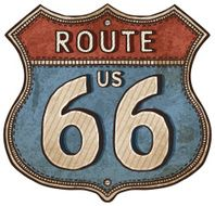 cartoon U S Route shield- route 66 road sign