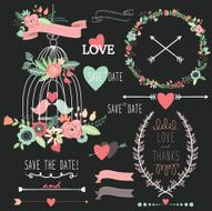 Chalkboard Birdcage Wedding Flowers- Illustration