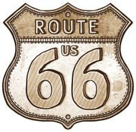 cartoon U S Route shield- route 66 road sign N2