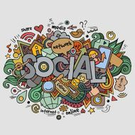 Social hand lettering and doodles elements background N5