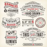 Vintage frames and banners hand drawn