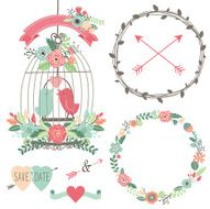 Vintage Wedding Flowers and Birdcage- Illustration