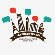 World landmarks with speech bubbles Famous monuments vector illustration