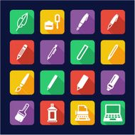 Writing Tools Icons Flat Design