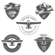 Airplane related emblems labels and design elements