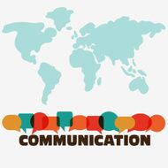 "Word ""communication"" with colorful dialog speech bubbles world map background"