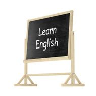 Learn English concept Blackboard chalkboard isolated on white